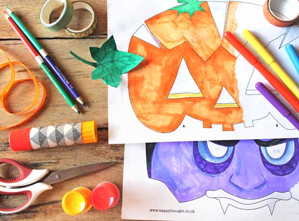 Halloween color-in pumpkin and vampire mask classroom activity