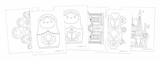 Matryoshka dolls or Russian nesting dolls coloring pages