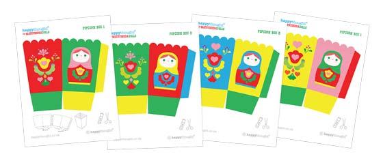 Matryoshkadoll or Russian nesting dolls printable pop corn box templates!