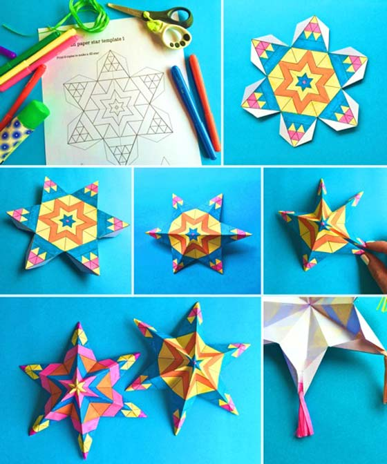 Easy Assemble Mexican Paper Star Ornamets: Craft Printable Color In  Activities! How To Make ...
