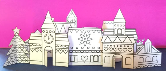 Paper crafts village cutout to colour in: Happythought Holiday craft activity pack!