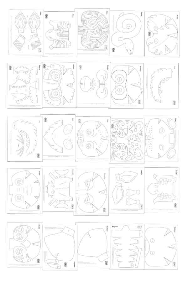 Printable wild animal masks. Download easy to make mask