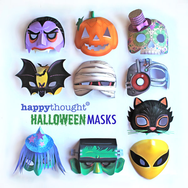 Halloween mask set templates for DIY homemade party costume outfits