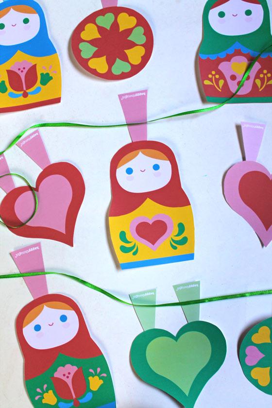 Russian nesting dolls paper craft garland template!