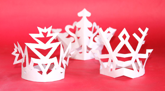 Snowflake Crowns 3 Festive Paper Craft Headpiece Templates