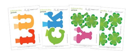 Lucky St Patricks Day printable party garland templates!
