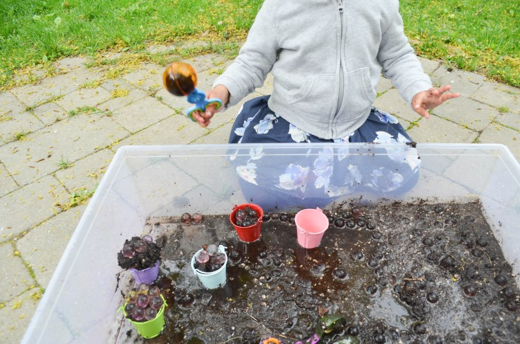 Water beads in mud sensory bin for toddlers