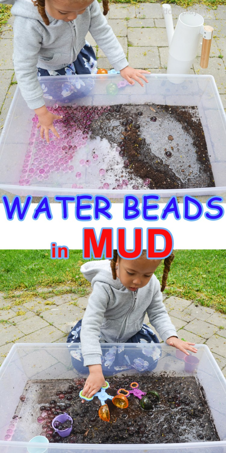 Water beads in mud sensory activity  for toddlers