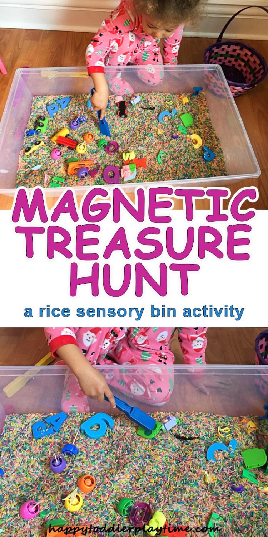 Magnetic Treasure Hunt sensory bin for toddlers and preschoolers