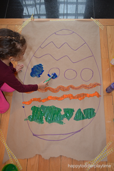 Giant Easter Egg Painting - HAPPY TODDLER PLAYTIME