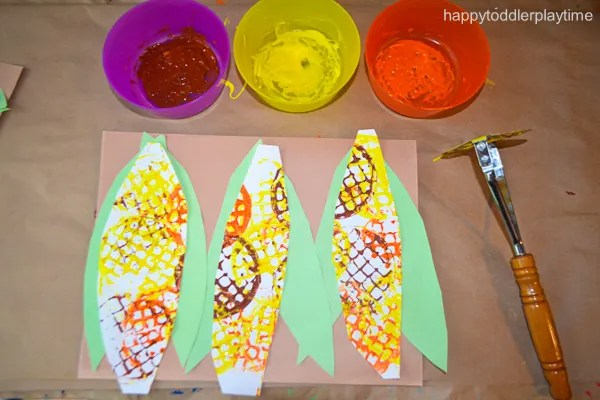 potato masher corn craft for toddlers and preschoolers