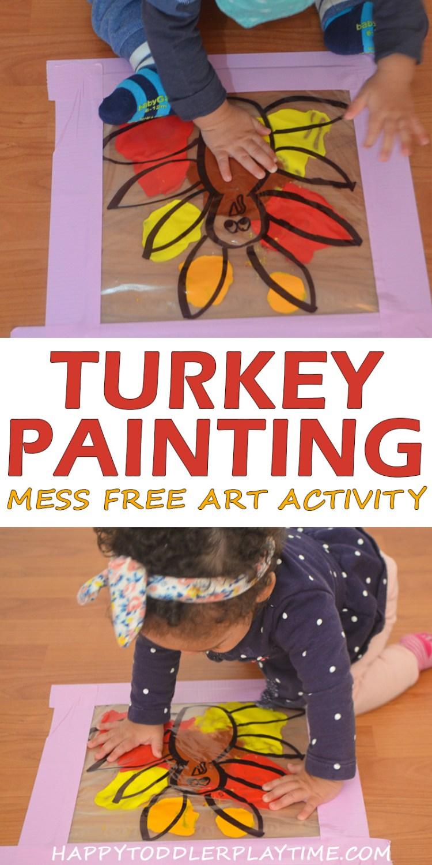 MESS FREE TURKEY PAINTING pin