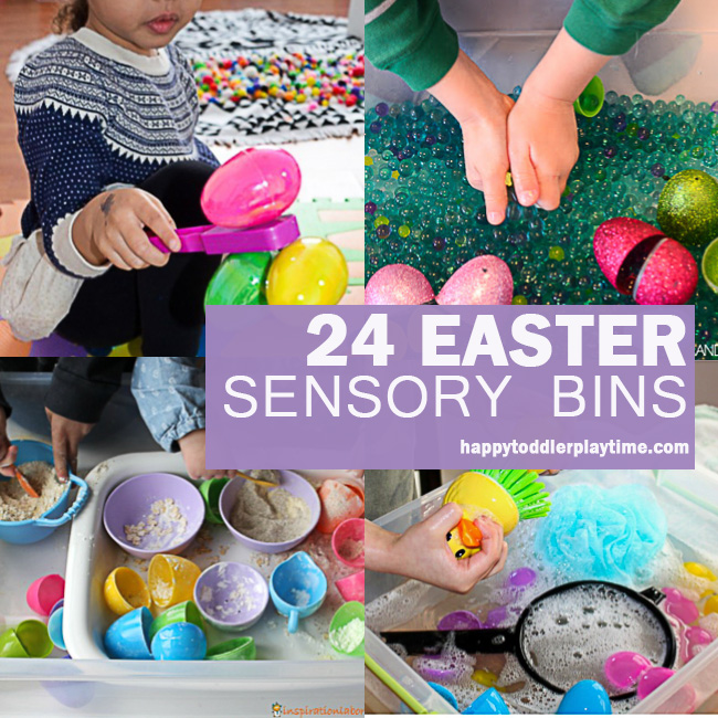 Easter sensory bins for toddlers and preschoolers