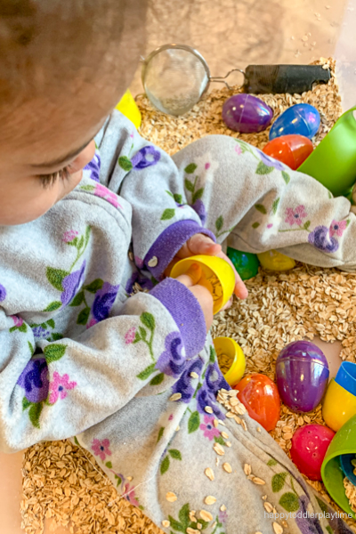 Oats & Easter Eggs Sensory Bin for babies and toddlers