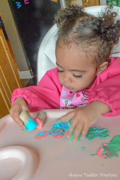Two Ingredient Edible Finger Paint for Babies & Toddlers