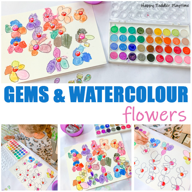 Gems and Watercolours Flowers arts and crafts project for preschoolers