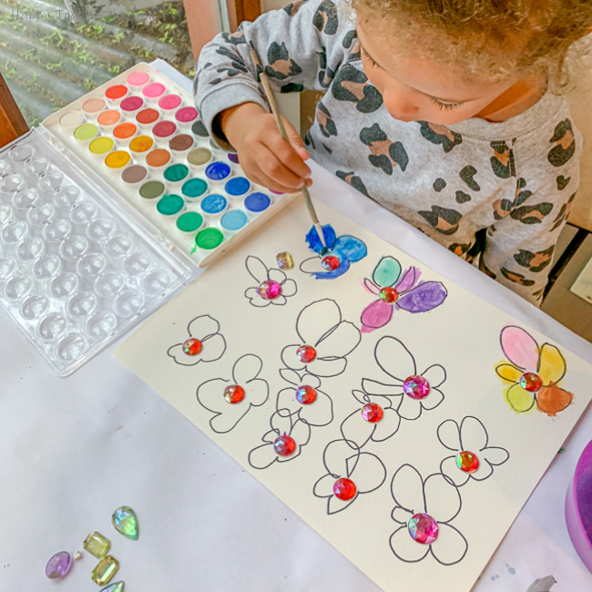 Gems and Watercolours Flowers art for toddlers