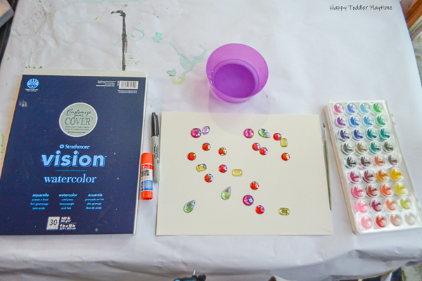 Gems and Watercolours Flower painting for kids