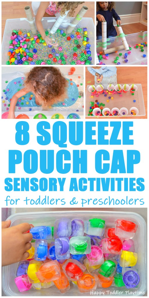 30+ Squeeze Pouch Cap Sensory Activities for toddlers and preschoolers