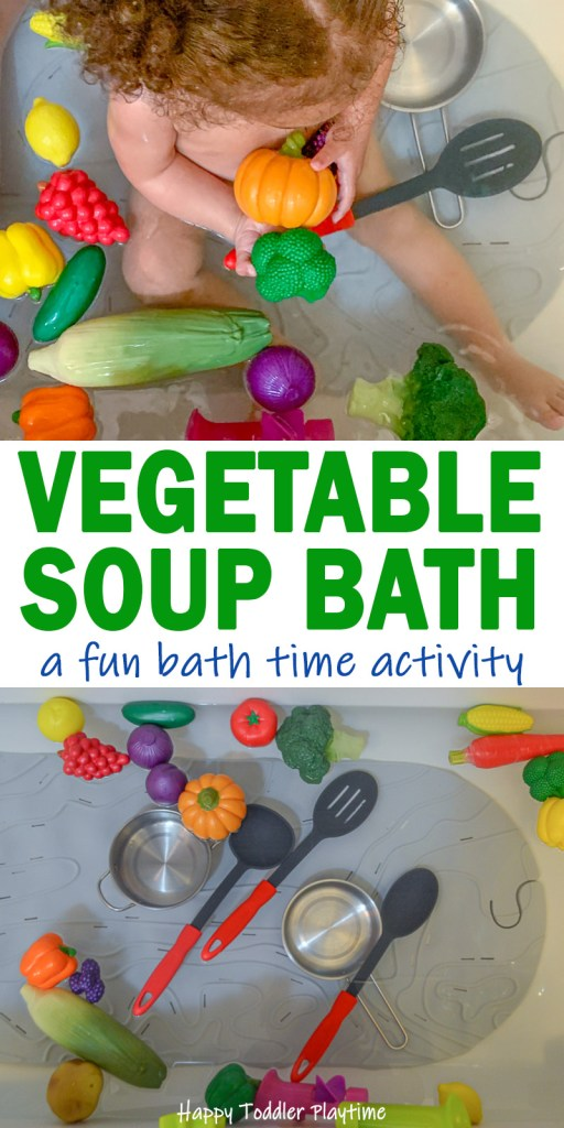 Toddler bath time activity using play food