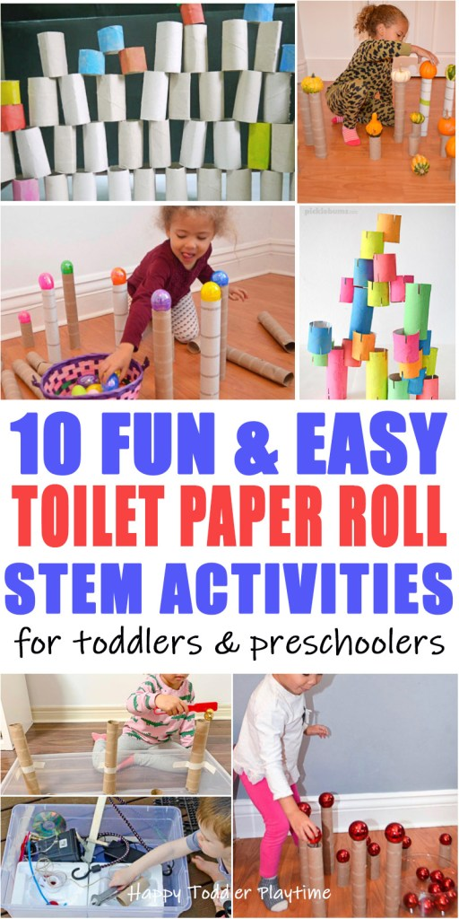 65 toilet paper roll STEM activities for toddlers and preschoolers