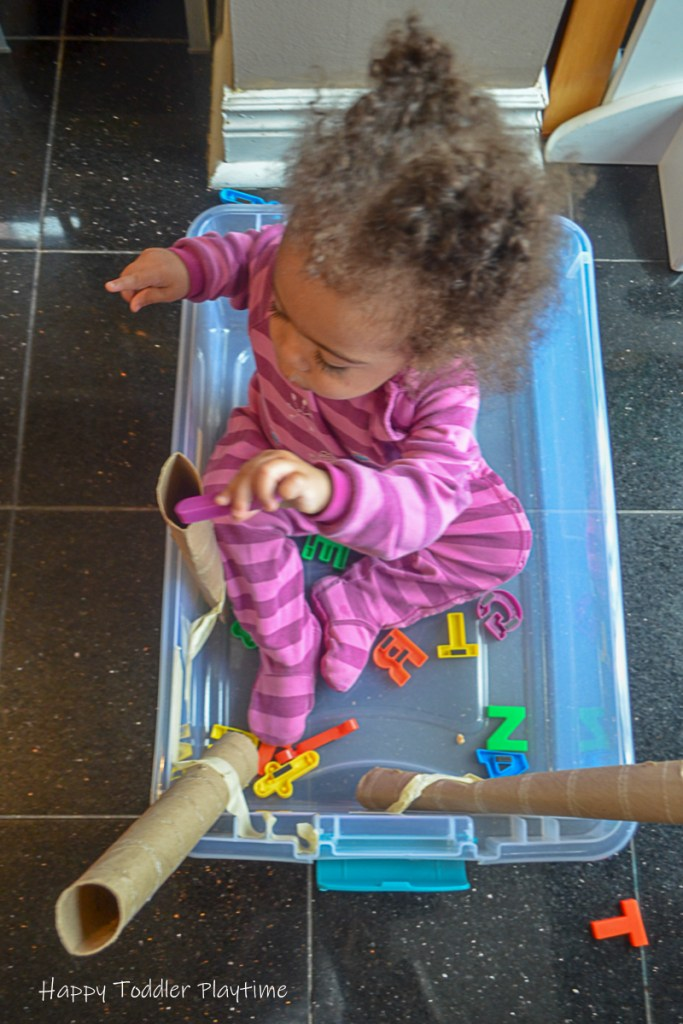 Letter Slides a toddler literacy activity