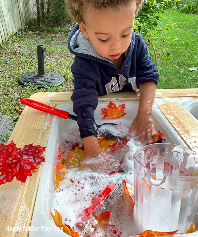 Autumn bubble foam sensory bin