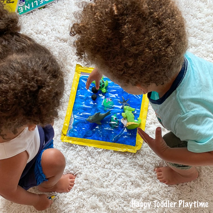 A fun sensory activity for toddlers using sea creatures
