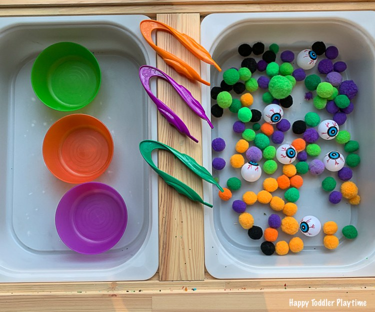 Eyeball and Pom Pom Halloween Sensory soup for toddlers and preschoolers