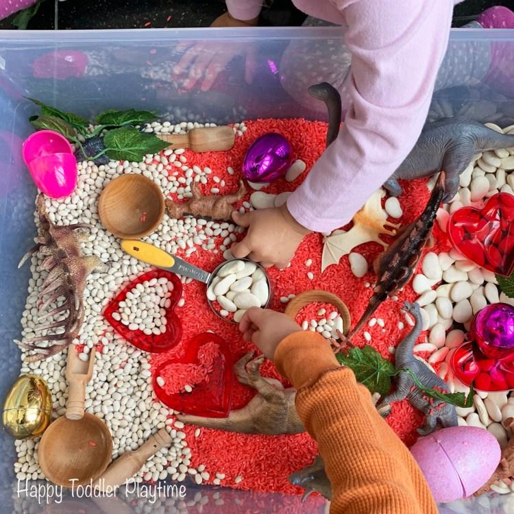 sensory bin for valentine's day