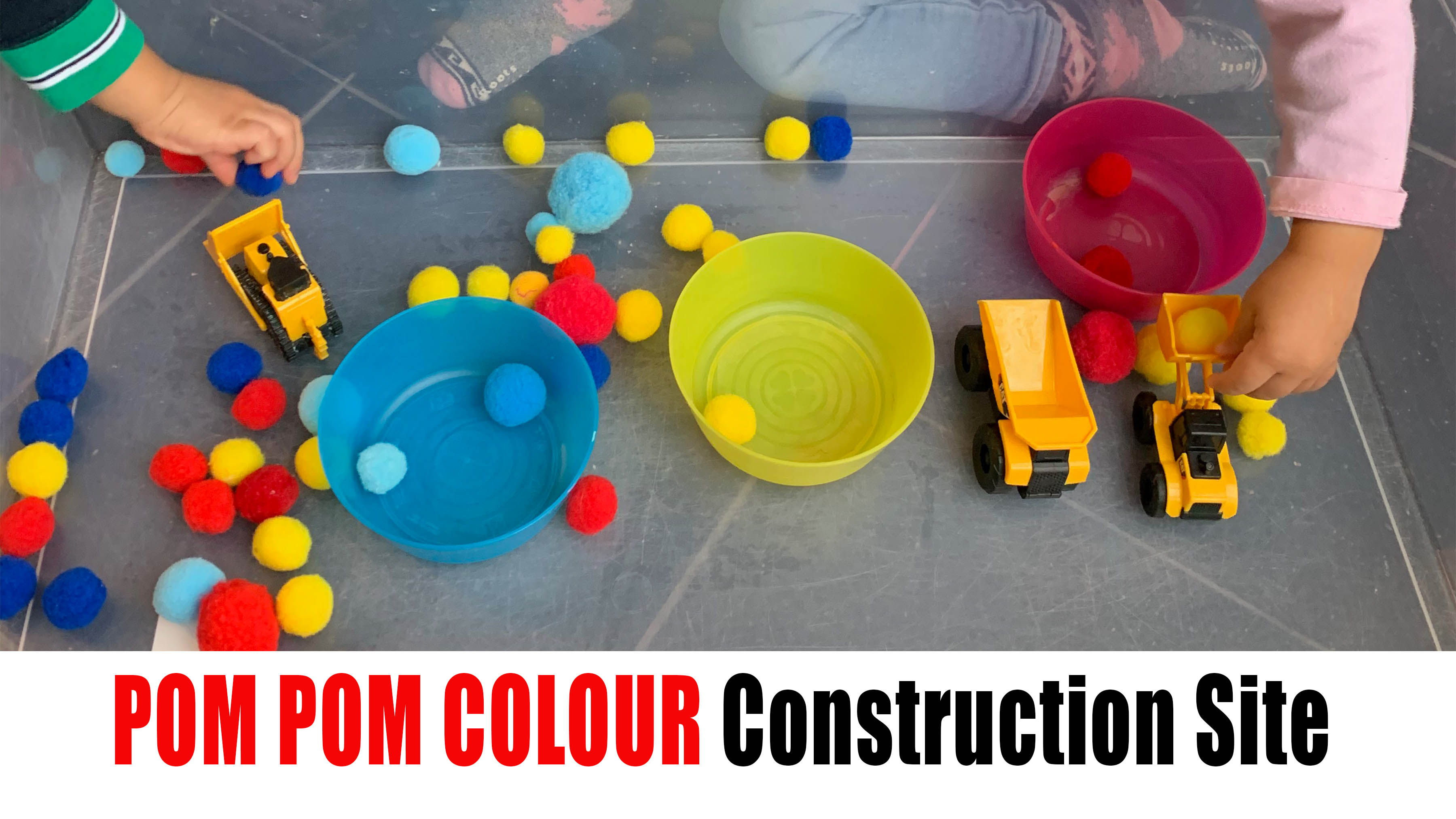 Pom Pom Construction Site color sorting activity