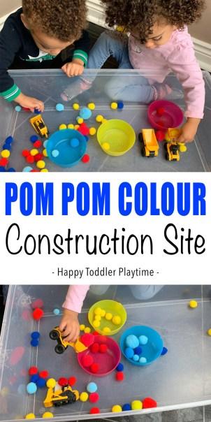 Pom Pom Construction Site color sorting activity