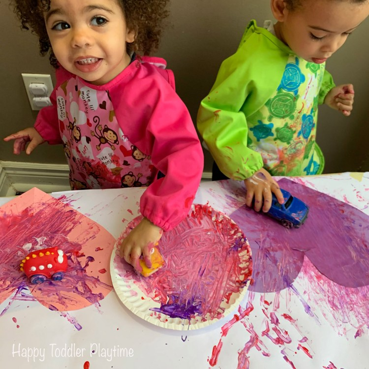 car painted hearts craft for toddlers on Valentine's Day