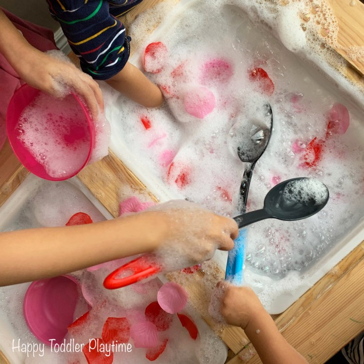 Valentines day bubble foam sensory bin for toddlers and preschoolers