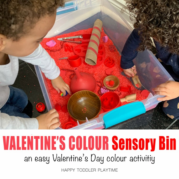 COLOR sensory bin for valentines day for toddlers and preschoolers