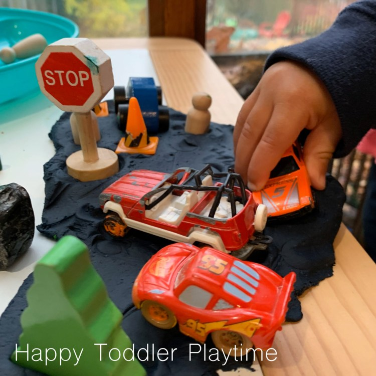 car play dough tray for toddlers and preschoolers