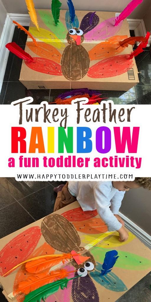Turkey feather rainbow thanksgiving activity