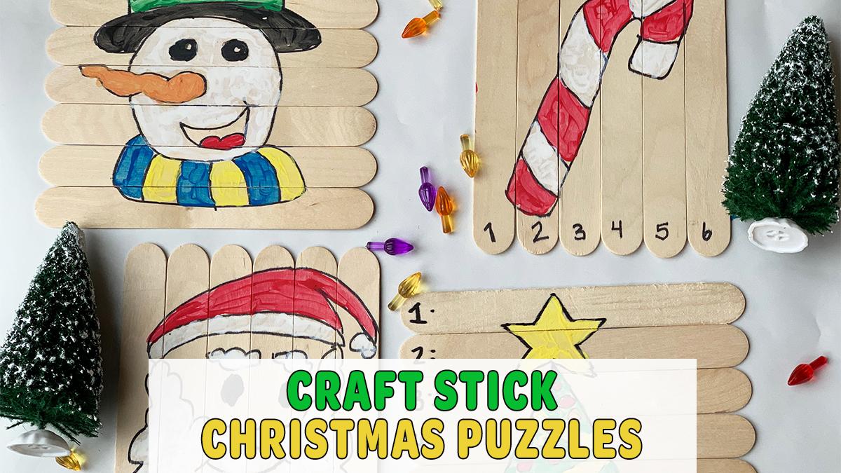 DIY Craft Stick Christmas Puzzles