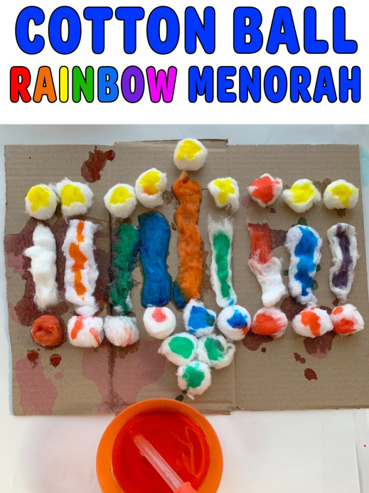 Cotton Ball Rainbow Menorah