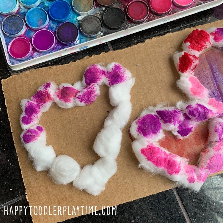 Cotton Ball Heart Painting