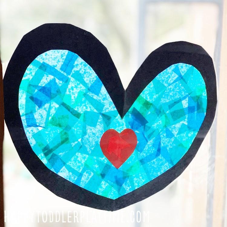 Earth Day Heart Sun Catcher Craft