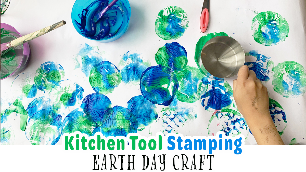 Kitchen Tool Stamping Earth Day Craft for Kids