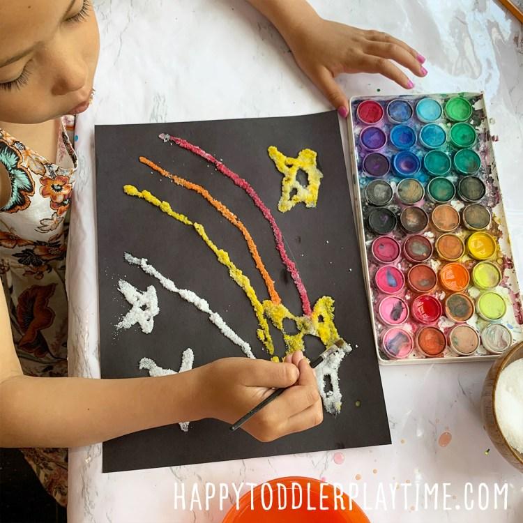 Salt Painting for Toddlers & Preschoolers