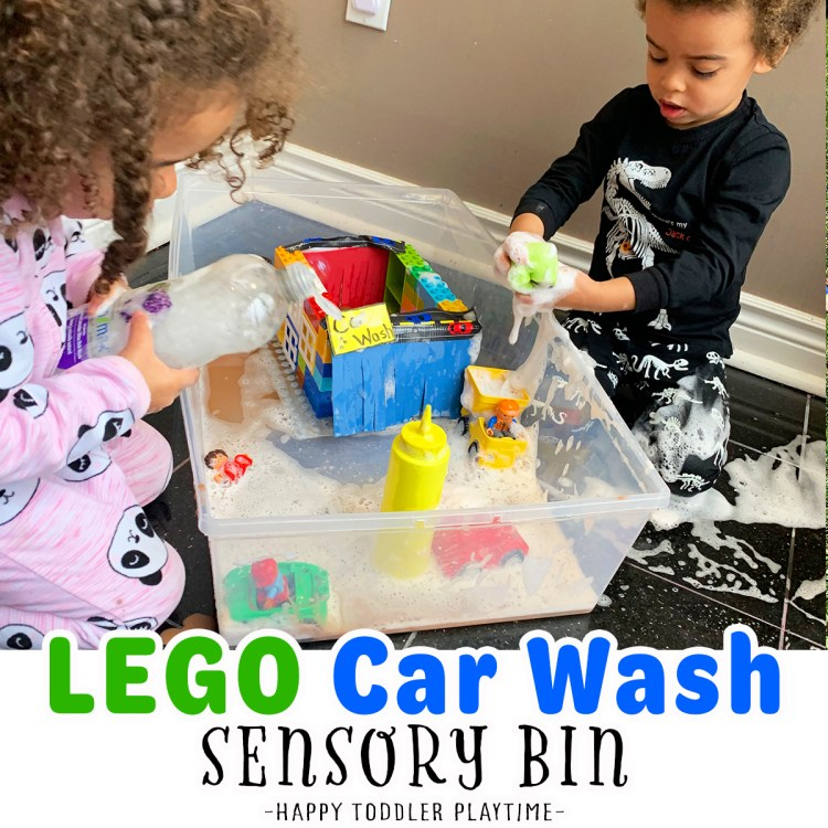 LEGO Car Wash Sensory Bin