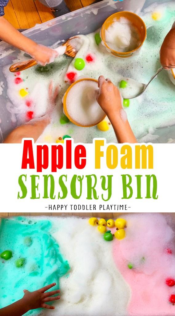 apple foam sensory bin