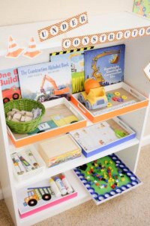 construction theme based learning shelf