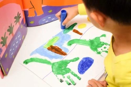 Handprint dinosaurs art for kids