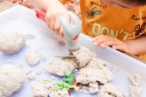Kinetic sand dinosaur eggs