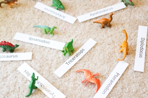 Dinosaurs matching activity for kids