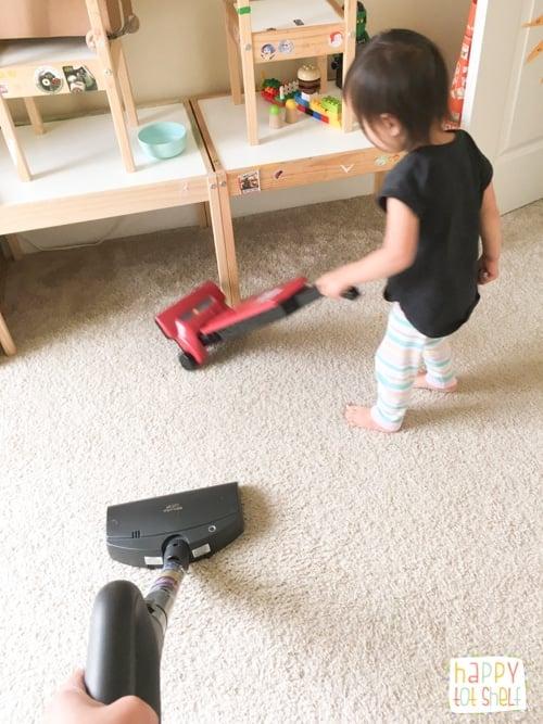 Kid doing housework